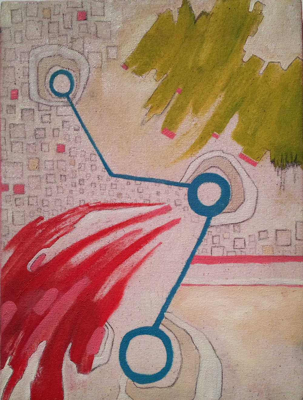 "Blip III 15x9"", oil and graphite on canvas, 2012, private collection"