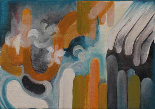"under the atmosphere (here), 5x7"", oil and graphite on canvas, 2013, private collection"
