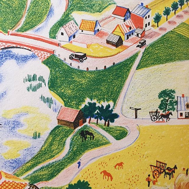 Country Life Rojankovsky  Detail from the map of Plouf's (canard sauvage) world in 1930s France. One of a series of animal books that Rojankovsky illustrated and lithographed for the Pere Castor series. They were hugely successful, translated many times and published in England and the USA. Worth searching out the early French editions as the printing and paper quality is far superior.  #rojankovsky #plouf #perecastor #canard #frenchchildrensbooks #stonelithography #mapsofinstgram #countryliving