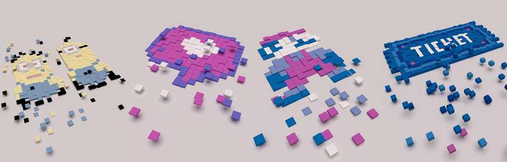 Pixel werden zu kleinen Klötzen