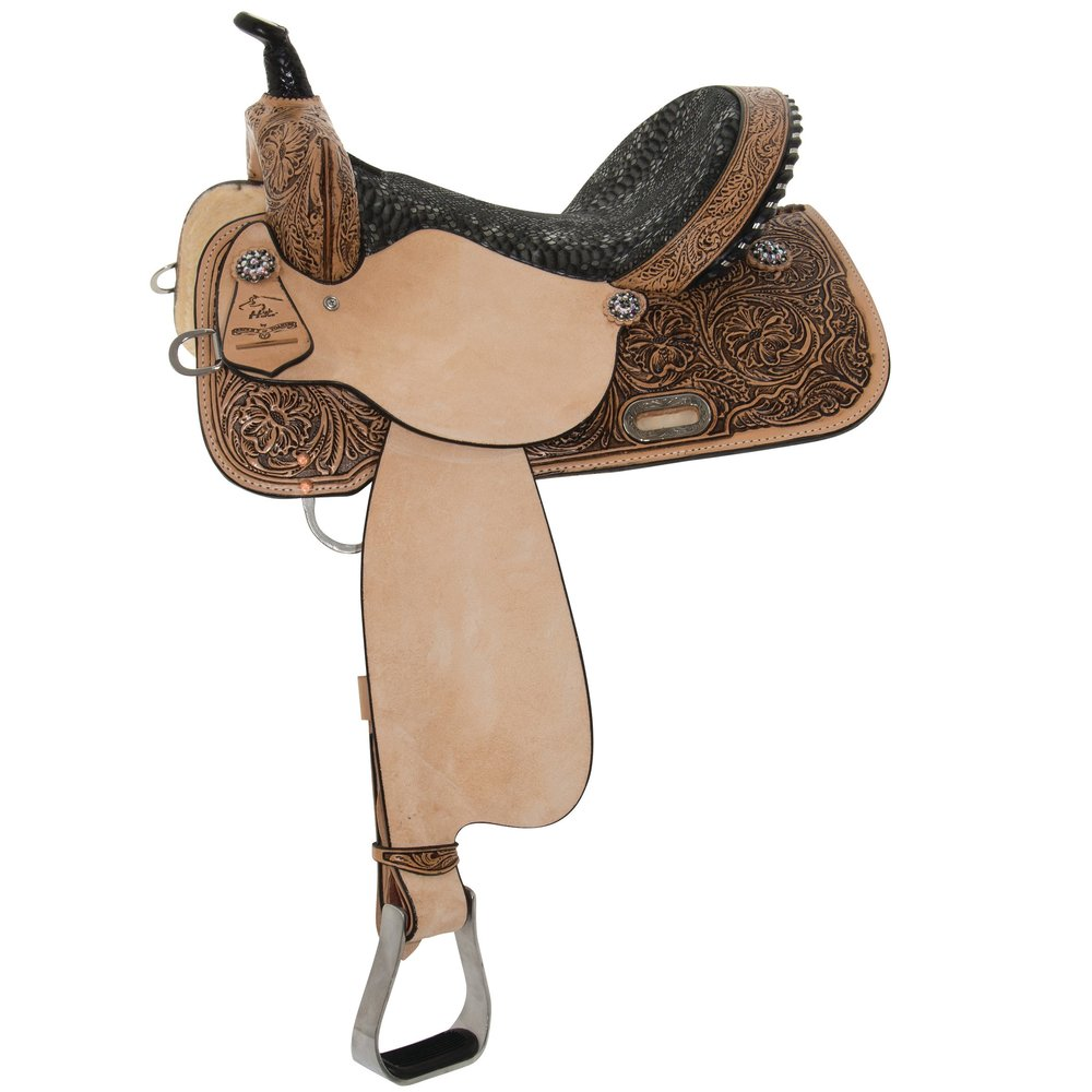 High Horse - The High Horse® brand crafts saddles for the most popular western disciplines- trail, barrel, cutting, roping and show. Saddles feature floral tooling with silver plated conchos and trim. RichTobac, warm Natural, classic Regular Oil, and deep Black color finishes enhance the saddle designs. Seat leathers meet discipline requirements for comfort and security. Ralide trees ensure strength without unnecessary added weight.