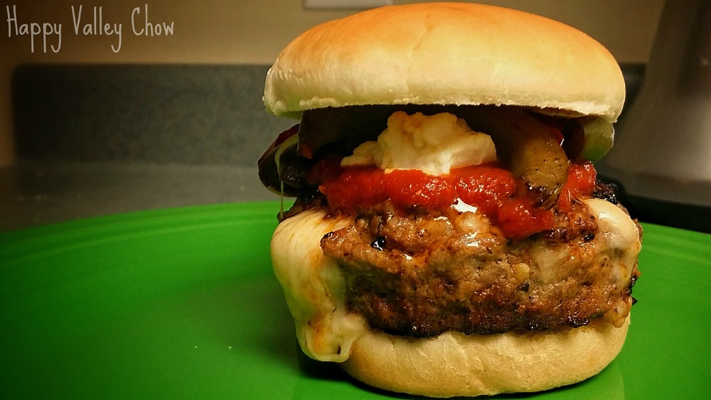 Mozzarella Stuffed Sausage Burger
