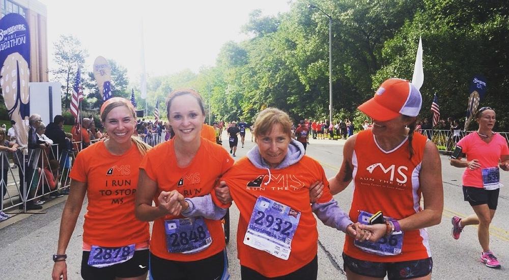L to R: Nikki, Rachel, Jill, me at the Brewers Mini Marathon, September 2015