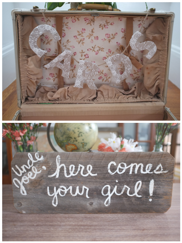 Cards Vintage Suitcase DIY Ring Bearer Sign