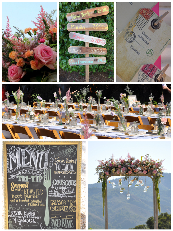 DIY Destination Wood Sign Escort Card Reception Dinner Tables Menu Chalkboard Trellis with Hanging Mason Jars (Ceremony)