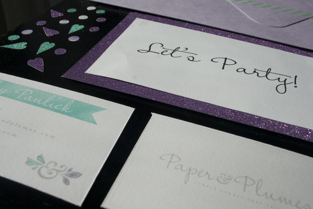 paper items: business cards, confetti, and a sweet note!
