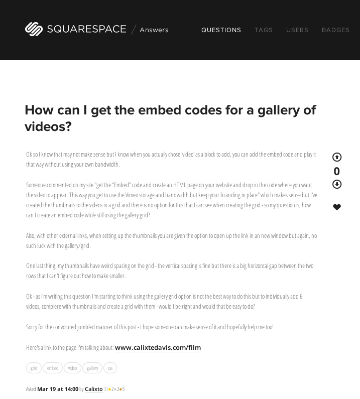 Screen captured from  SquareSpace Answers