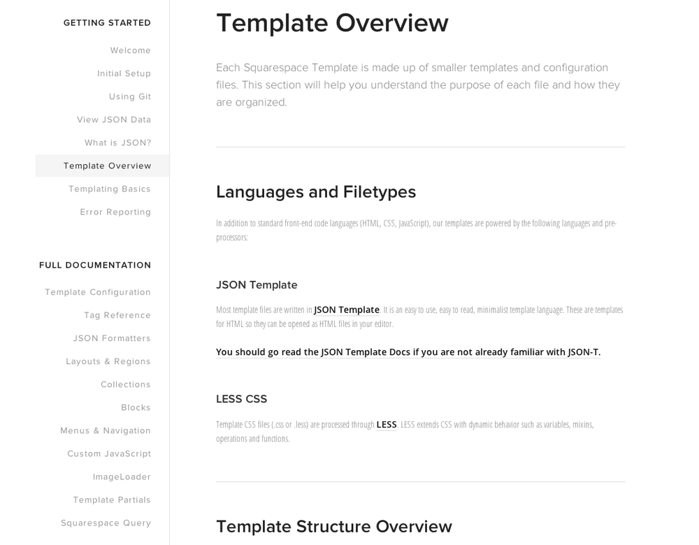 Screen captured from  SquareSpace Developers/Template Overview