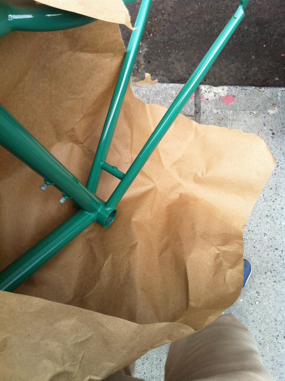 Emma's bike, back from powder. Bushwick.
