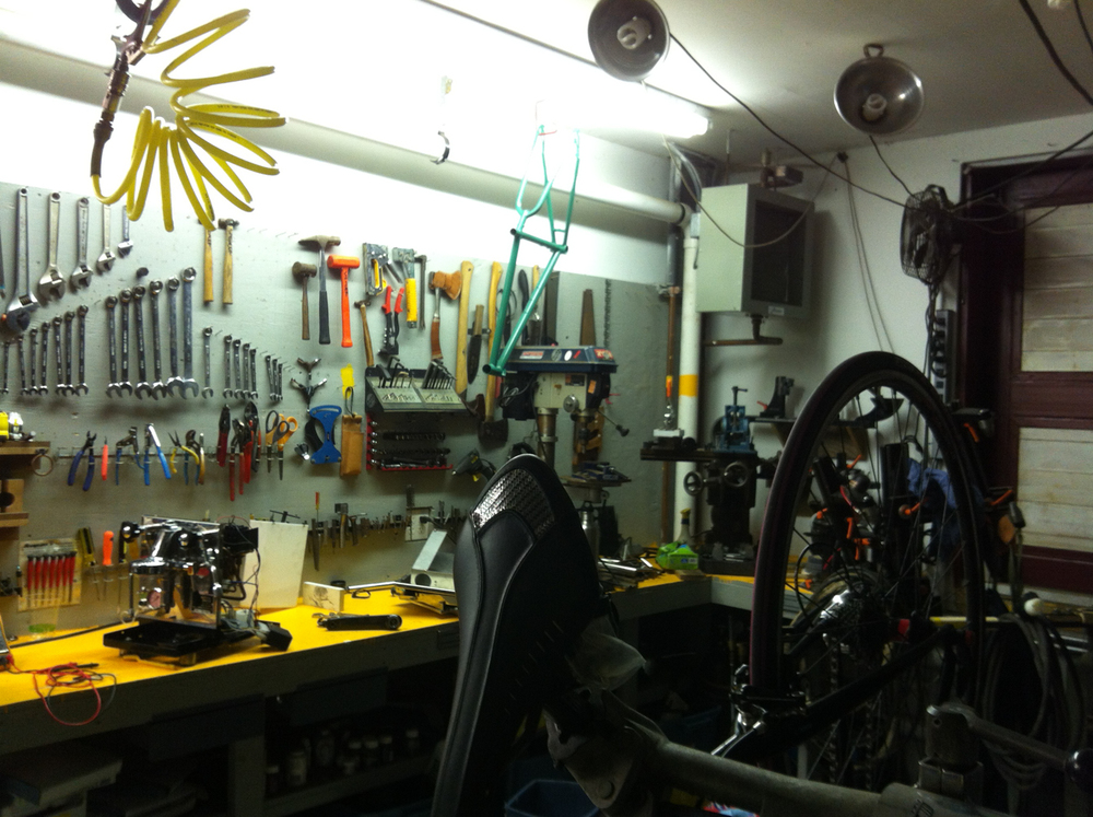 Staying up late, tuning my road bike.