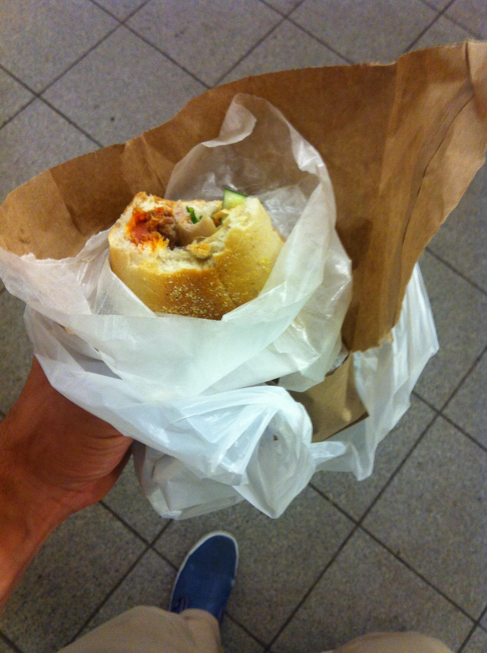 This is literally a sandwich in a bag in a bag in a bag. It was a good sandwich, but still.