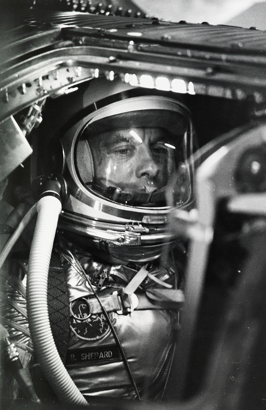 Alan Shepard waits to become the first American in space, Cape Canaveral, 1961.  PHOTOGRAPH BY NASA