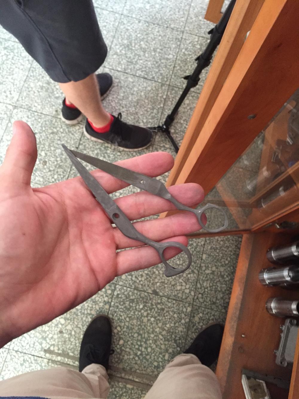 Cast scissors.