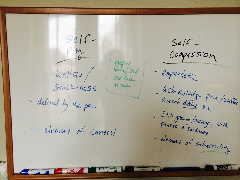The whiteboard I use in counseling sessions... (I'm not afraid for you to know that I have the penmanship of a 12-year-old boy...).