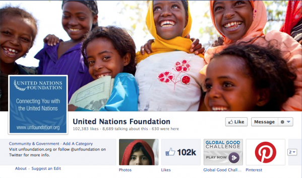 The United Nations Foundation  has a great image of smiling faces greeting their visitors, contrasting with the text-based graphic used for their profile image.