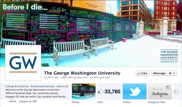 The George Washington University  cover photo uses a neat fisheye lens shot of a colorful, student-decorated wall on campus, showing that they care about their students.