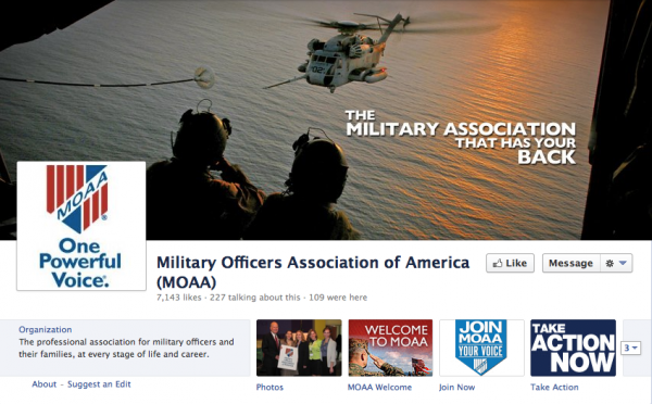 MOAA uses a tense action shot to convey the importance of support for military personnel.