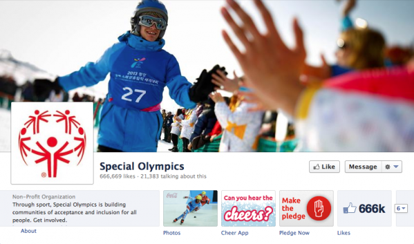 The Special Olympics Facebook page  uses a great action shot to convey excitement and optimism. It really engages the viewer.