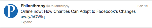 Sample tweet from @Philanthropy