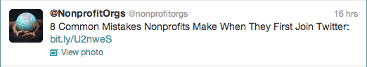 Tweet from @NonprofitOrgs