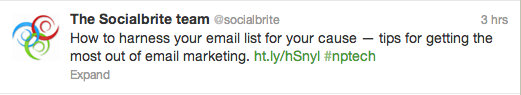 Tweet from @Socialbrite