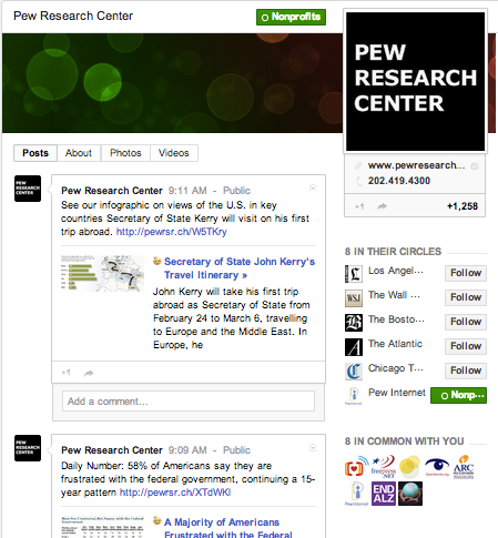Pew Research Center on Google+