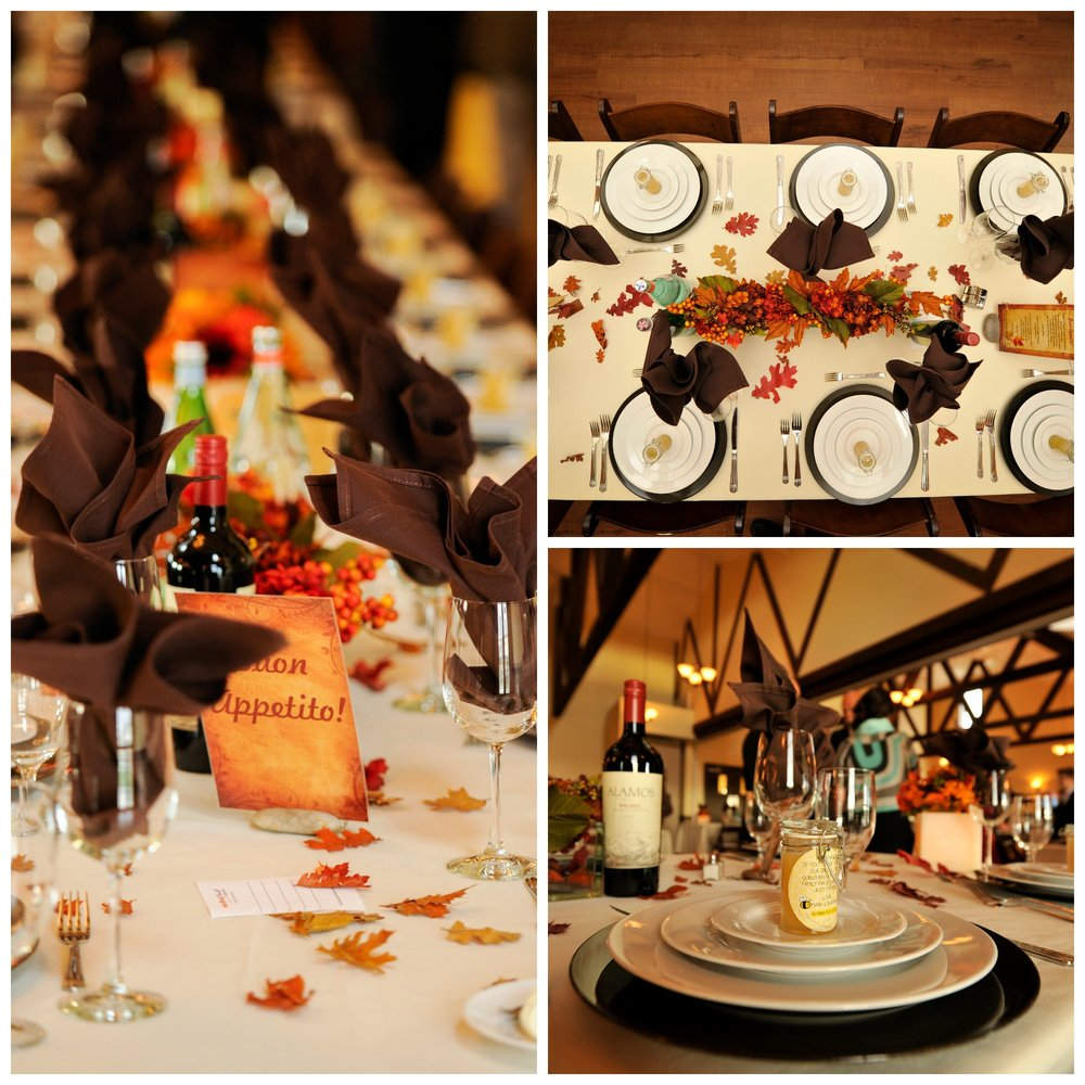 We loved the details of these table settings from a lovely Fall wedding; chocolate brown napkins and the stacked dinner plates were fantastic!