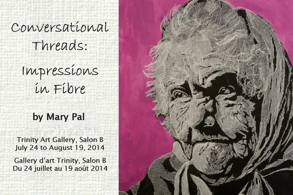 July 24 to August 19, 2014     Opening Reception: July 27, 2014 from 1:00 to 3:00 pm    Trinity Art Gallery -   Salon B    Shenkman Arts Centre, 245 Centrum Boulevard, Lower Level    Open Monday to Friday from 7:45 am to 9:30 pm    Weekends from 9:00 am to 6:00 pm    Information: 613-580-ARTS (2787)    ottawa.ca/arts, shenkmanarts.ca