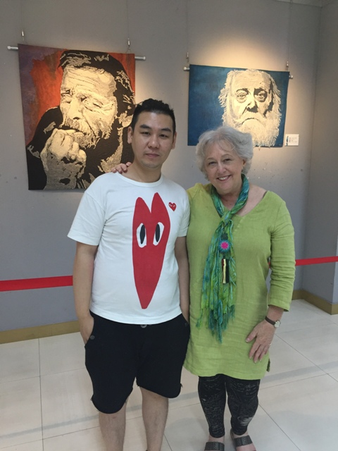 Spending some time at the exhibition with Shenzhen textile artist Mutou.