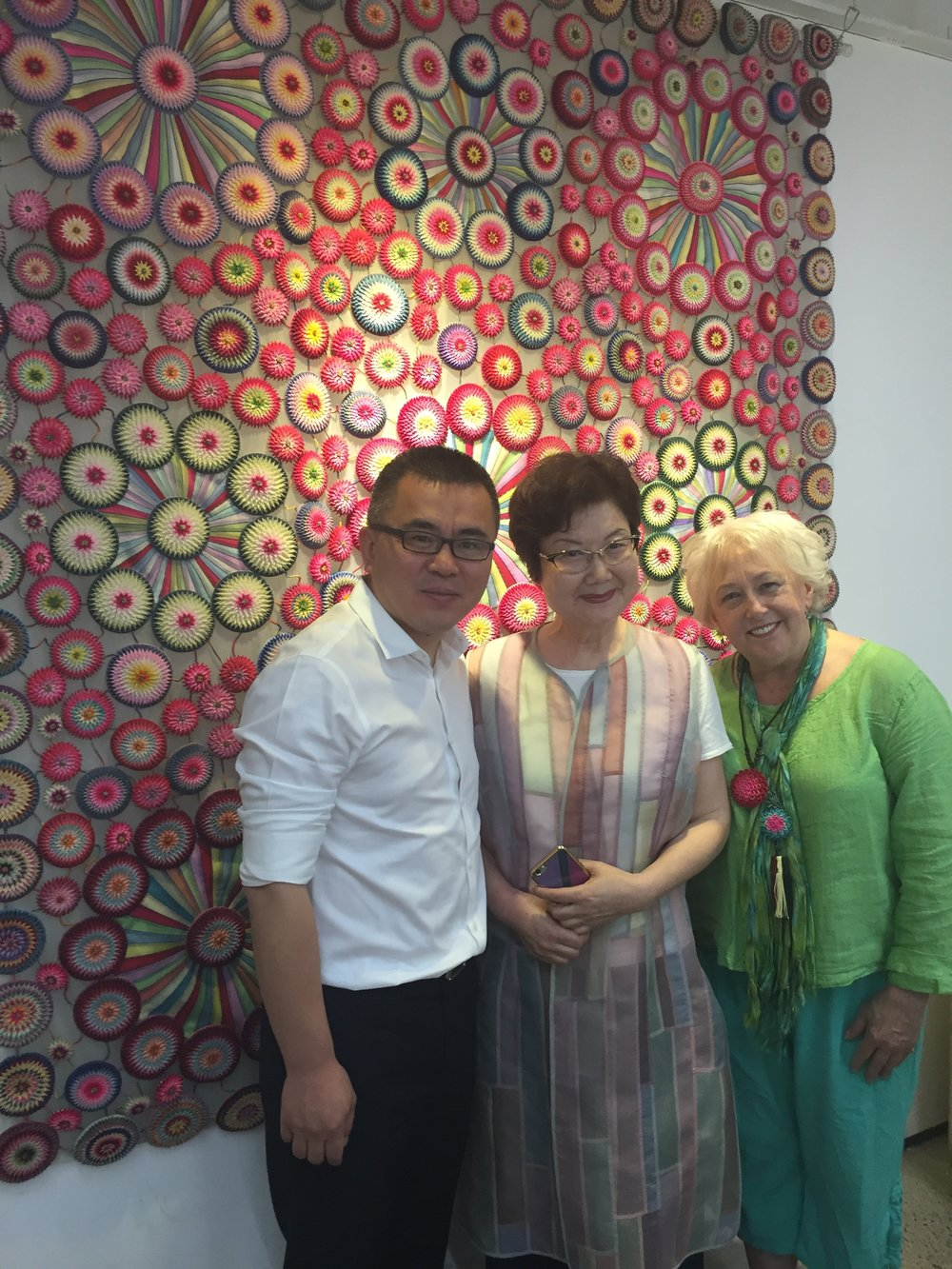 One of Miss Jin's incredible quilts, in her studio.
