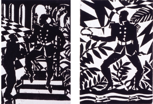 Aaron Douglas The Emperor Jones Series woodcut on paper 1926 1 and 2.jpg