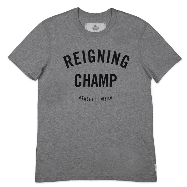 Reigning Champ Knit Cotton Jersey Gym Logo Short Sleeve Tee - Heather Grey