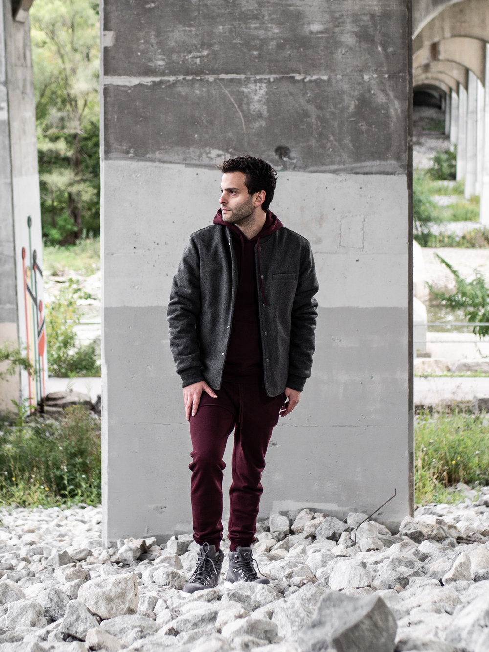 Look 003    Outclass    Jacket     Reigning Champ    Hoodie    and    Sweats     Diemme    Boots