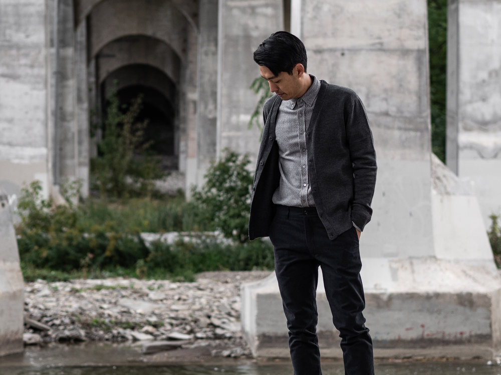 Look 007    IN SITU    Cardigan     Outclass    Shirt    and    Pants     Wings + Horns    Sneakers