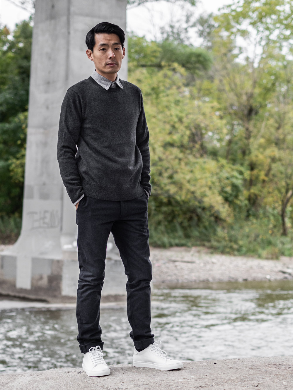 Look 007    IN SITU    Sweater     Outclass    Shirt    and    Pants     Wings + Horns    Sneakers