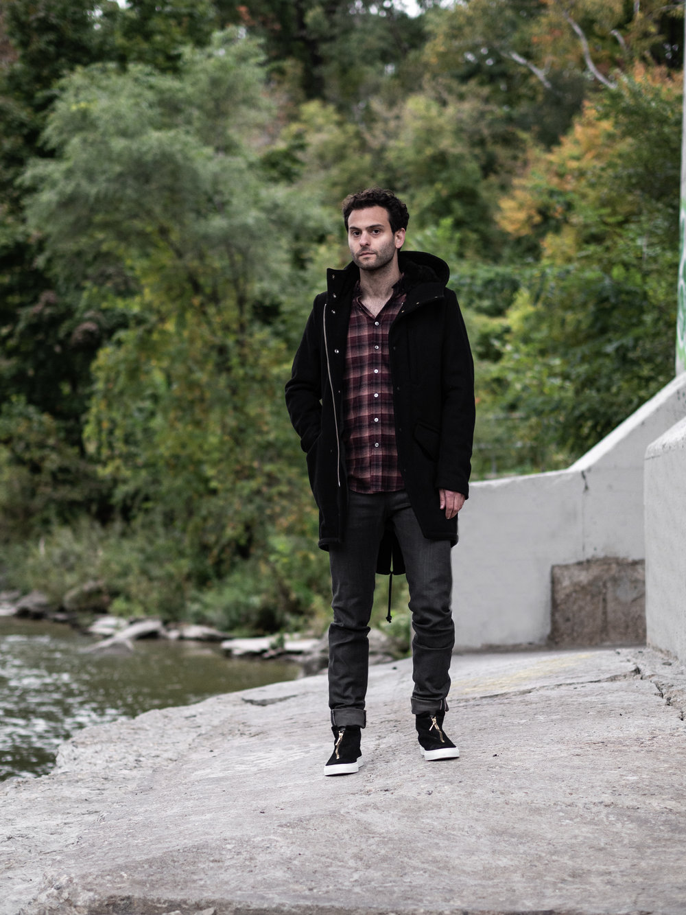 Look 008    Outclass    Coat    and    Shirt     Naked & Famous    Denim     Diemme    Sneakers