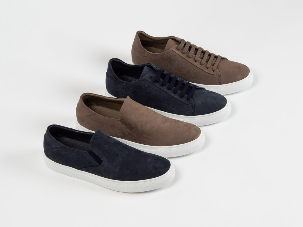 """WINGS + HORNS NUBUCK FOOTWEAR - New from wings+horns : butter smooth calfskin nubuck leather Court Lows and Slip-Ons, both available in Midnight and Taupe. Wings + Horns' nubuck footwear is leather lined, with a cushioned leather footbed and the iconic """"Serena"""" rubber sole by Margom. These are refined staples, elevated through a process of reduction. Wings + Horns' nubuck footwear is all handcrafted in Italy."""