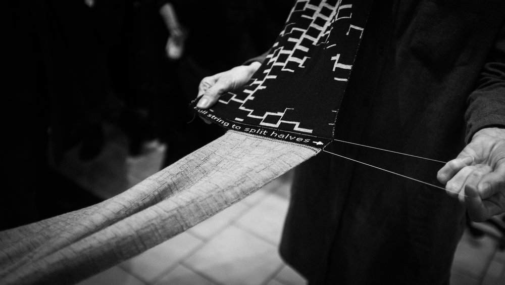 SUPERSYMMETRY - An innovative, interactive knitting experience with String Theory Scarves, hosted by the Toronto Design Offsite Festival.