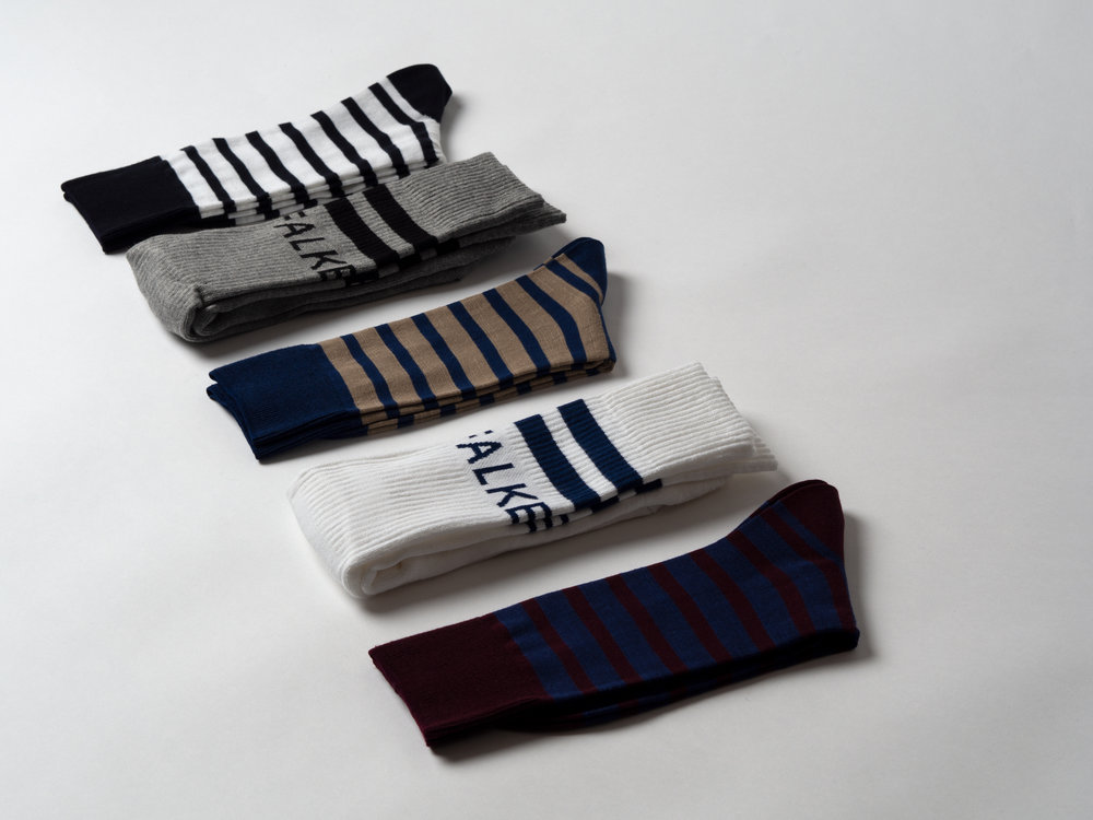 """FALKE EVEN STRIPE & RETRO SOCKS - New from Falke : additional colour ways in the classic """"Even Stripe"""" and a retro tennis sock. Even Stripe socks are extremely lightweight, temperature regulating and moisture wicking, with a nautical stripe pattern. The retro tennis socks are lightly cushioned under the foot, taking some of the impact out of each step. Both styles come with reinforced stress zones and Falke's anatomical construction and sized fit. Falke's legwear is all produced in their own facilities in Germany and in Eastern Europe."""