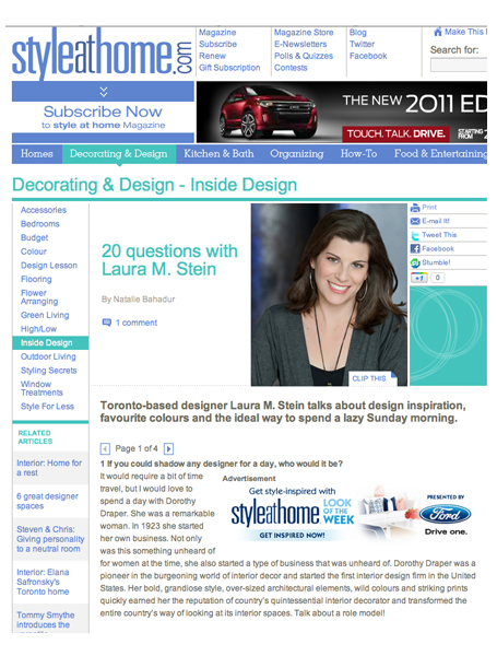 Laura Stein Interiors, interior decorating, interior design, in the news, online