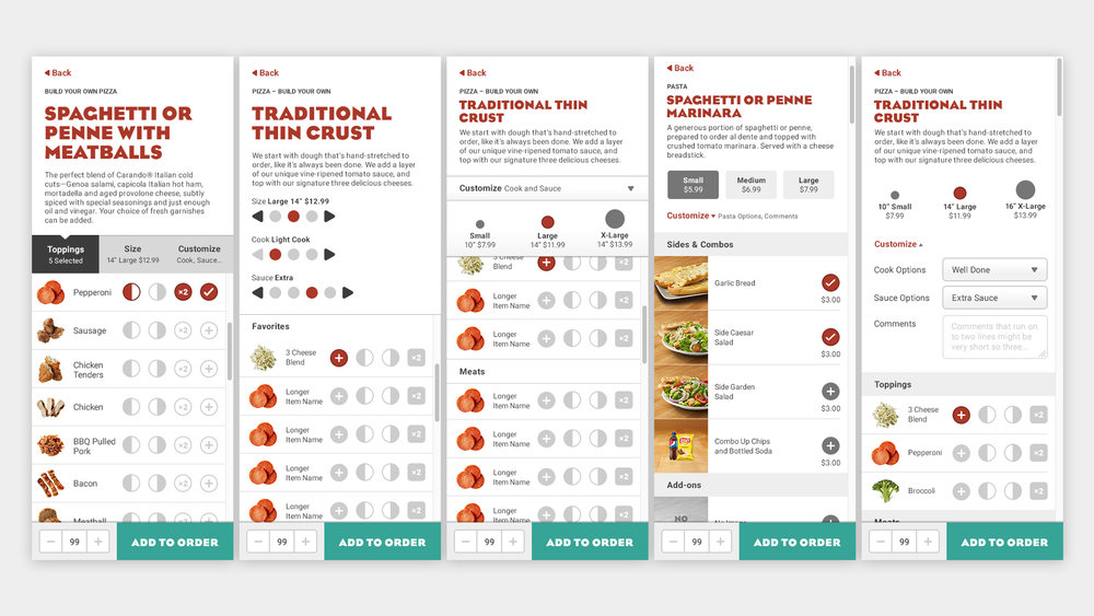 In designing our customization options we had to accommodate a wide range of CMS controlled options that varied by store location, food type, and screen size.