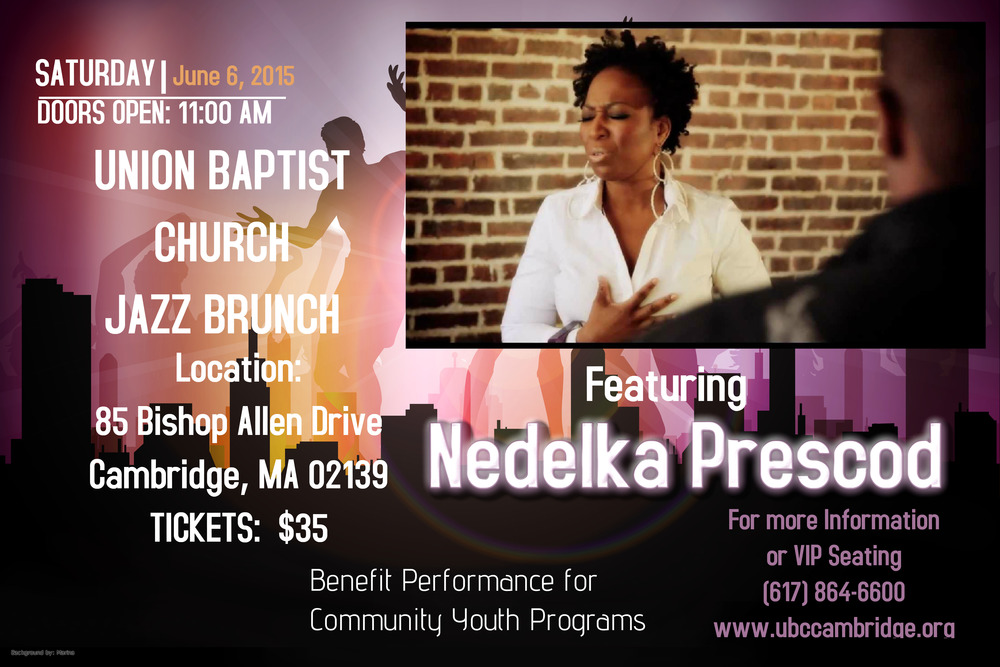 You are invited to join me and friends on June 6th, 2015 at Union Baptist Church in Central Square, Cambridge, MA.    I'll be sharing the mic witH   JOSEPH COPELAND and ROBERT PATE and we'll be accompanied by some truly great instrumentalists, VAUGHAN FRANCIS (keys), PARKER McALLISTER (bass), VANCIL COOPER (drums) and more...