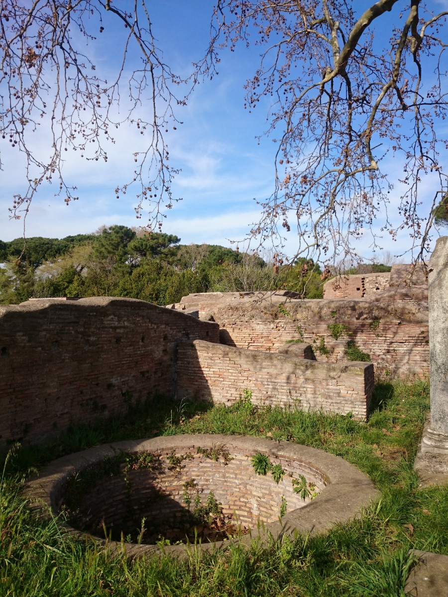 an ancient well in ostia archeological site