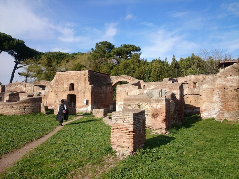 Walking through the ruins in Ostia Ancient City