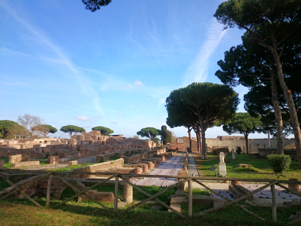 Walking through the ancient city. You can see Ostia's amphitheater on the right.