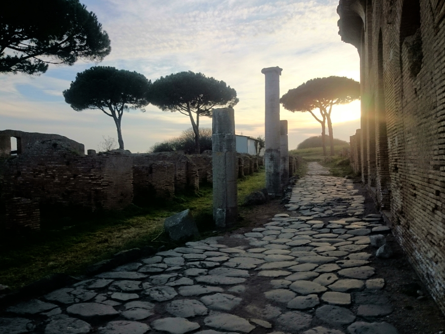 Walking through the streets of Ancient Ostia, just 20 minutes from Rome, at sunset.
