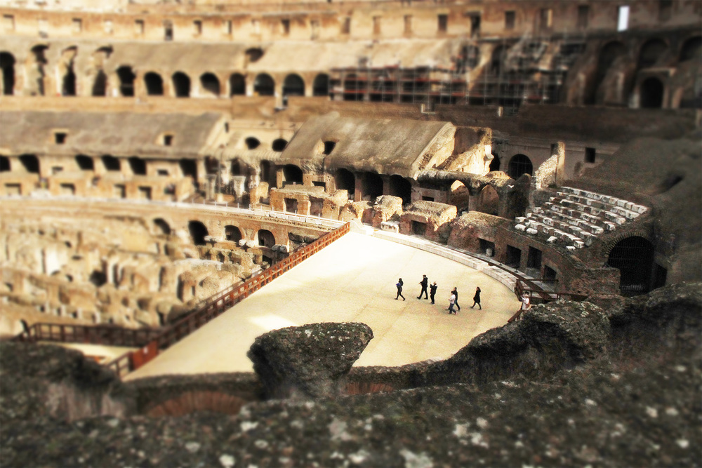 Our small group reaches the arena after exploring the Colosseum underground