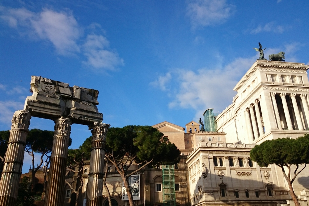The Roman Forum and the so-called Vittoriano.