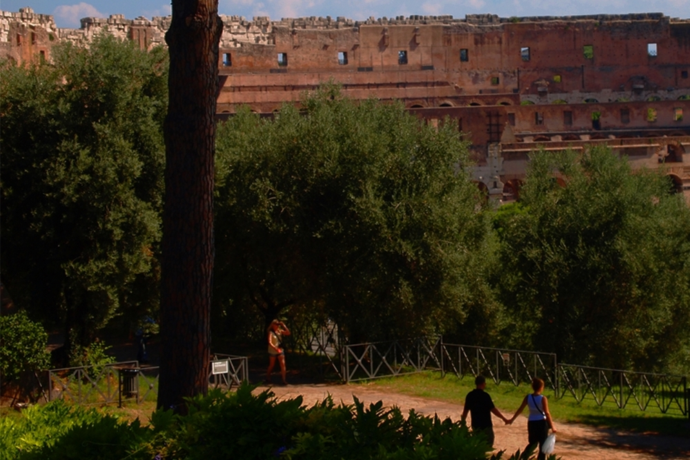 Couple talking a romantic walk at the Palatine Hill