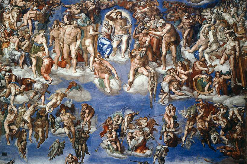 An image of Michelangelo's Last Judgment in the Sistine Chapel